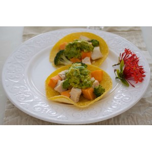 Candy Chicken Broccoli & Yam Tacos...